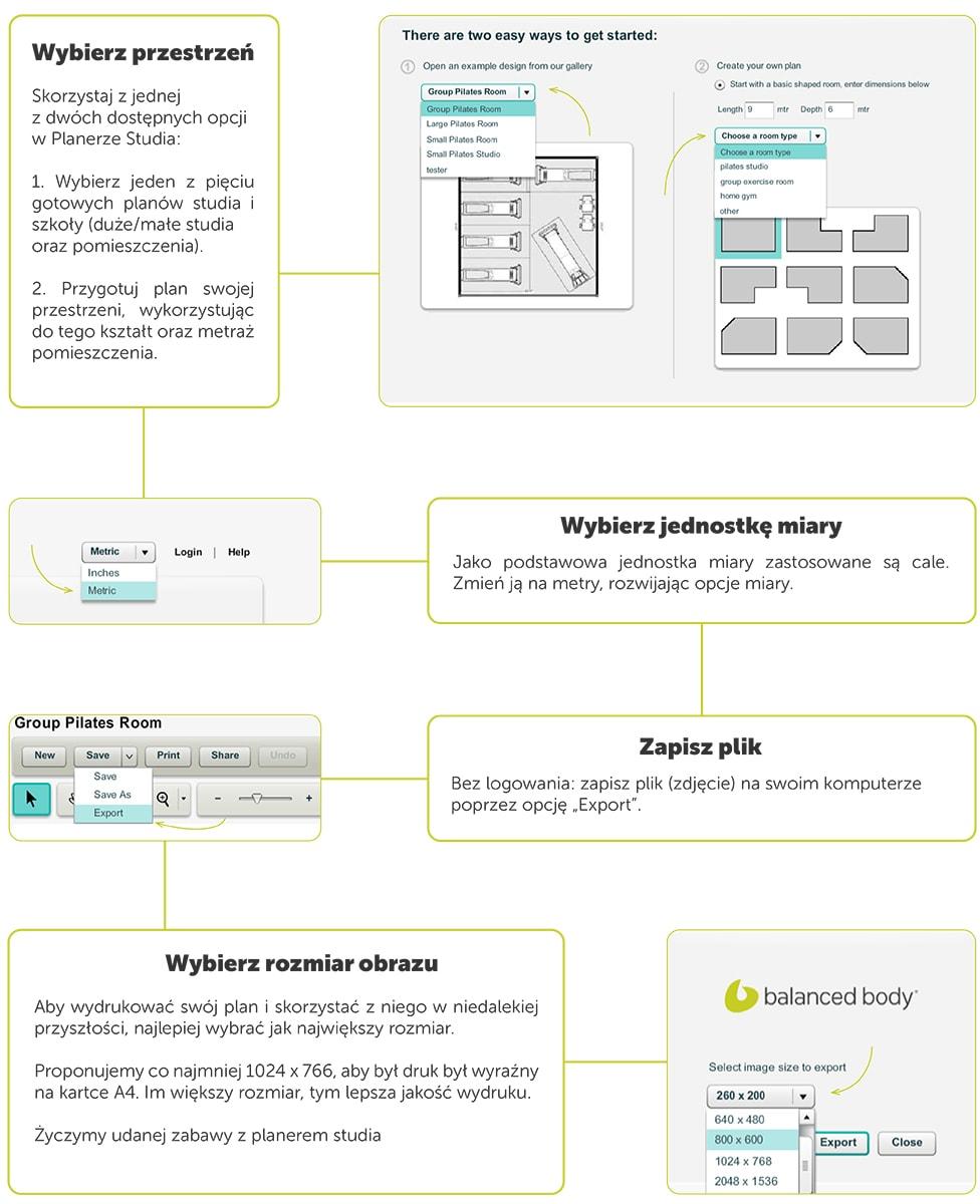 infografika - jak używać planera przestrzeni balanced body?